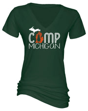 "Ladies ""Camp Michigan"" Cotton/Poly Essential V-Neck Tee"