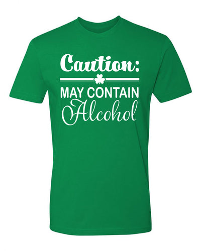 "Adult ""Caution: May Contain Alcohol"" St. Paddy's Day Jersey Cotton Short Sleeve Tee"