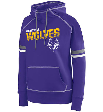 "Girls/Ladies ""Central Wolves"" 50/50 Cotton/Poly Pullover Hoodie"