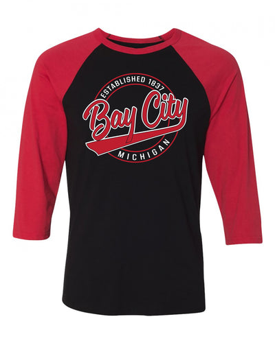 "Adult ""Bay City, Michigan - Est. 1837"" 3/4 Length Sleeve Baseball Tee"