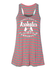 "Ladies ""Drunkest Bunch Of A**holes This Side Of The Campground"" Flowy Racerback Tank"