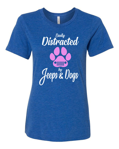 "Ladies ""Easily Distracted by Jeeps & Dogs"" Relaxed Jersey Short Sleeve Tee"