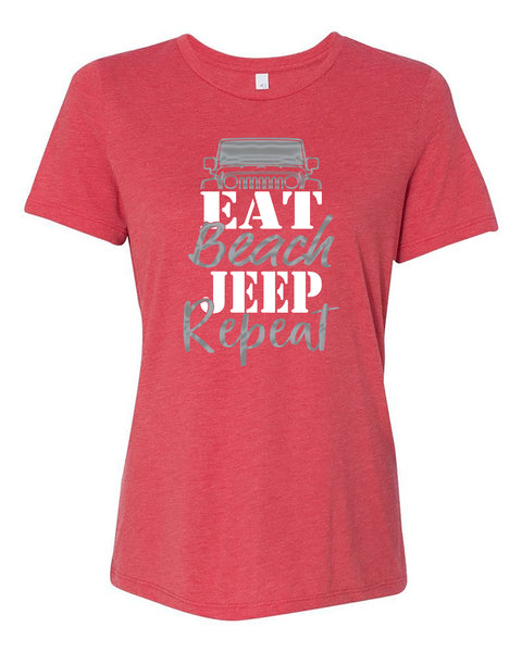 "Ladies ""Eat, Beach, Jeep, Repeat"" Relaxed Jersey Short Sleeve Tee"