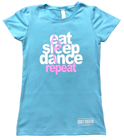 "Youth Girl's Princess ""Eat, Sleep, Dance, Repeat"" Tee - Tahiti Blue"