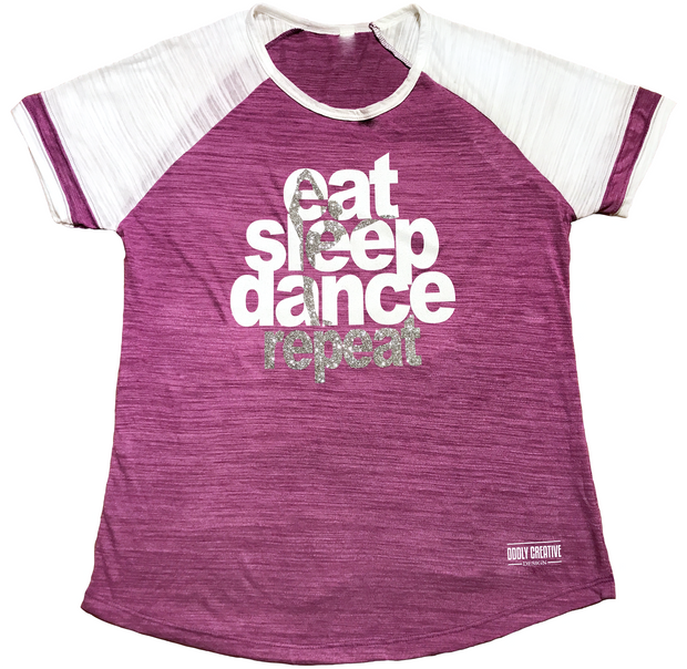 "Ladies ""Eat, Sleep, Dance"" Triblend Colorblock Tee"