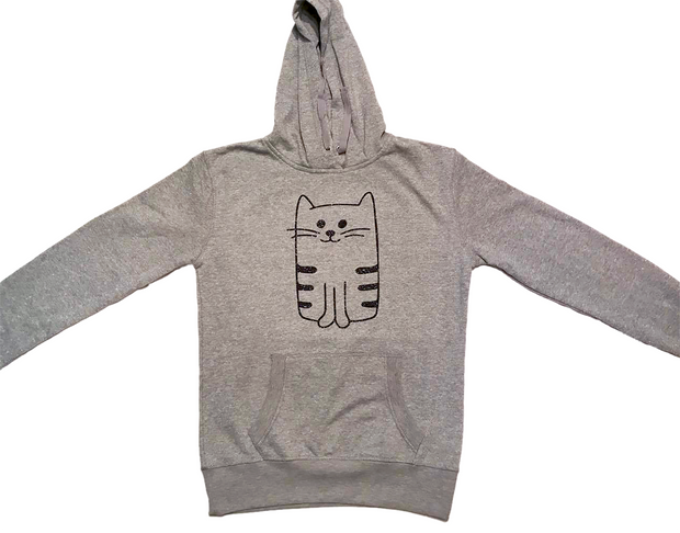 Ladies Medium Weight Pullover Glitter French Terry Kitty Hoodie