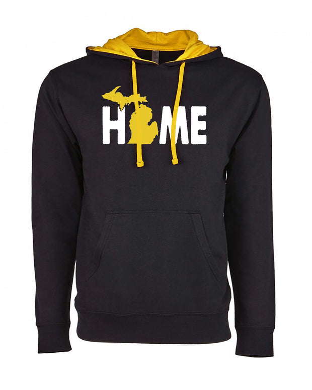 "Adult ""HOME"" State of Michigan Medium Weight French Terry Fleece Pullover Hoodie"