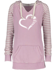 "Ladies ""Heart Camping"" Striped Chalk Fleece French Terry Pullover Hoodie"