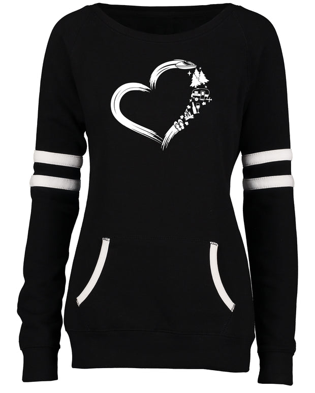 "Ladies ""Heart Camping"" Varsity Fleece Crew Neck Pullover"