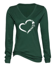 "Ladies ""Heart Camping"" Cotton/Poly V-Neck Long Sleeve Tee"