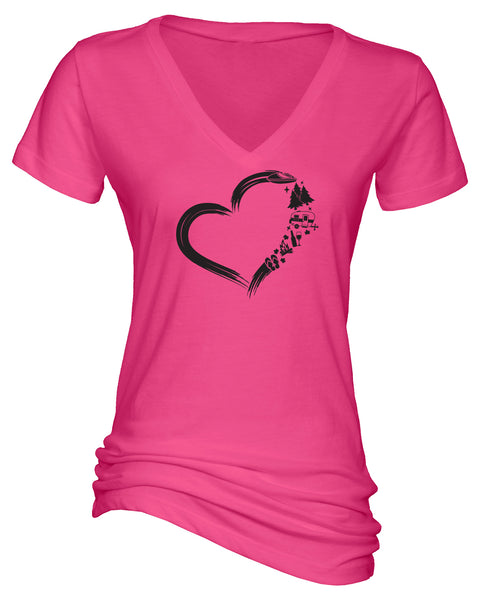 "Ladies ""Heart Camping"" Cotton/Poly V-Neck Short Sleeve Tee"