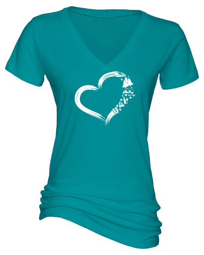 "Ladies ""Heart Camping"" Essential V-Neck Short Sleeve Tee"