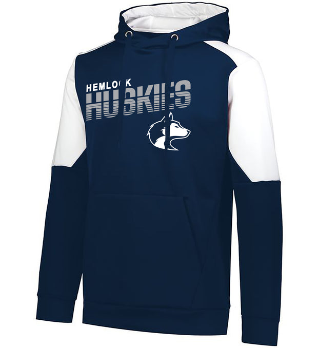 "Youth/Adult ""Hemlock Huskies"" Moisture Wicking Performance Polyester Blue Chip Hoodie - Navy/White"