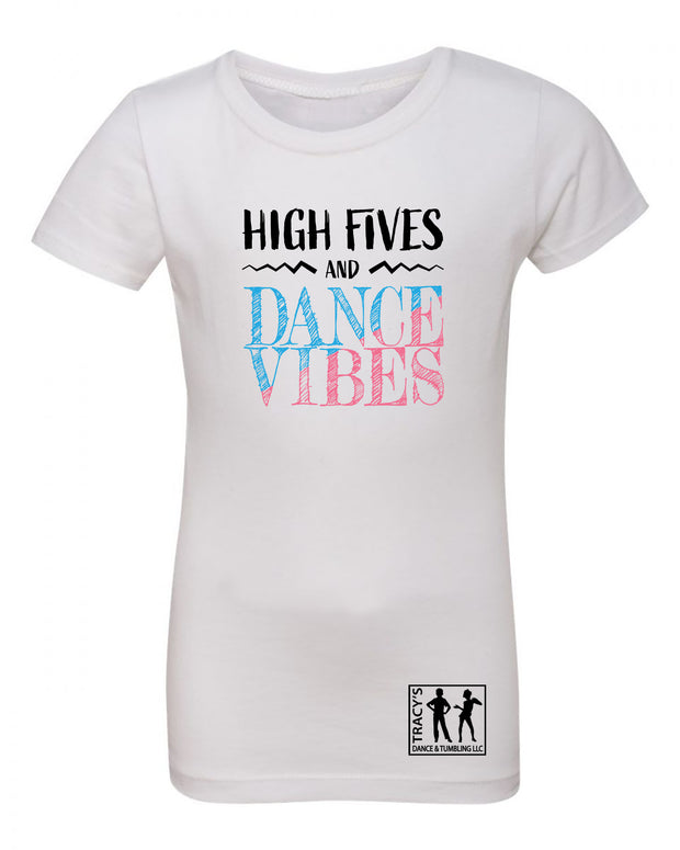 "Girls ""High Fives and Dance Vibes"" Jersey Cotton Princess Tee"