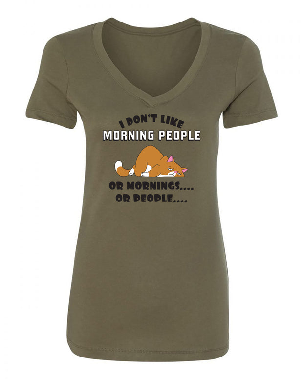 "Ladies ""I Don't Like Morning People Or Mornings Or People"" with Cat Poly/Cotton V-Neck Short Sleeve Tee"