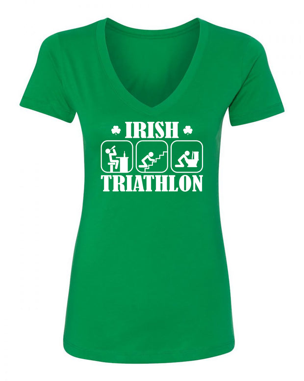 "Ladies ""Irish Triathlon"" St. Paddy's Day Poly/Cotton Ideal V-Neck Tee"