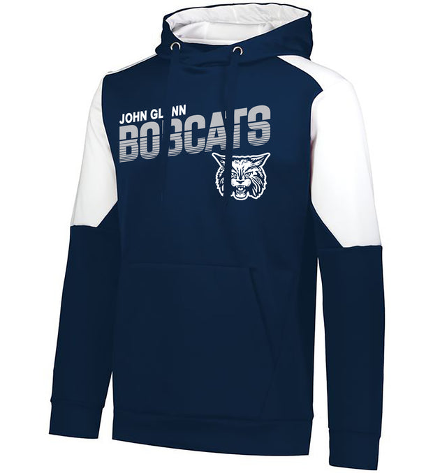 "Youth/Adult ""John Glenn Bobcats"" Moisture Wicking Performance Polyester Blue Chip Hoodie - Navy/White"