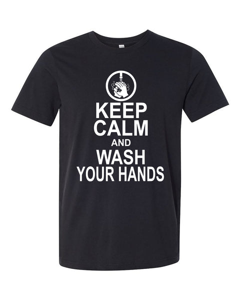 "Adult ""Keep Calm And Wash Your Hands"" Heather Jersey Cotton/Poly Short Sleeve Tee"