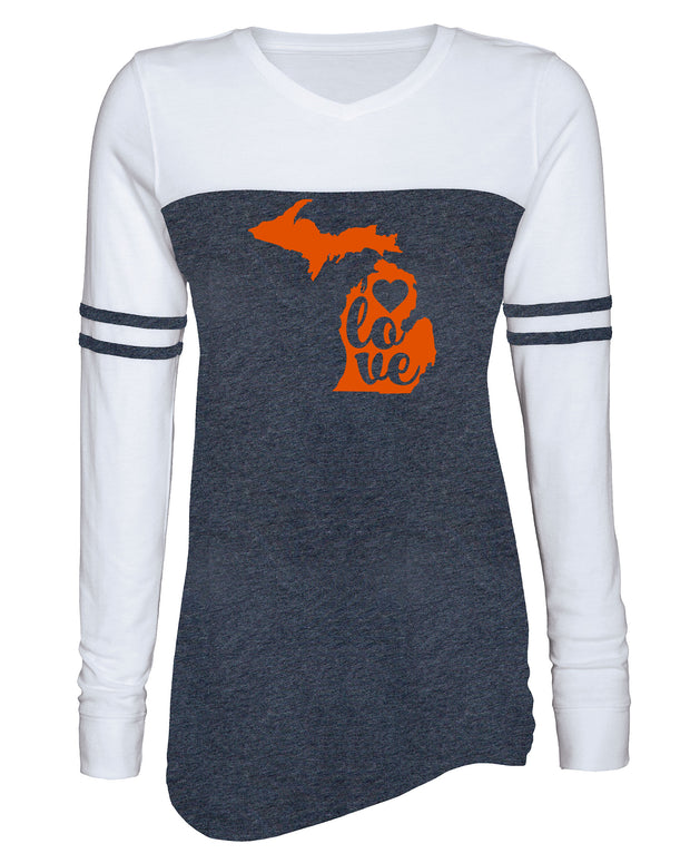 "Ladies ""LOVE Michigan"" Vintage Triblend Long Sleeve Varsity Tee"