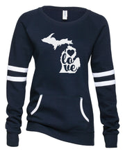 "Ladies ""LOVE Michigan"" Varsity Fleece Crew Neck Pullover"