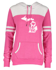 "Ladies ""LOVE Michigan"" Varsity Fleece Pullover Hoodie"