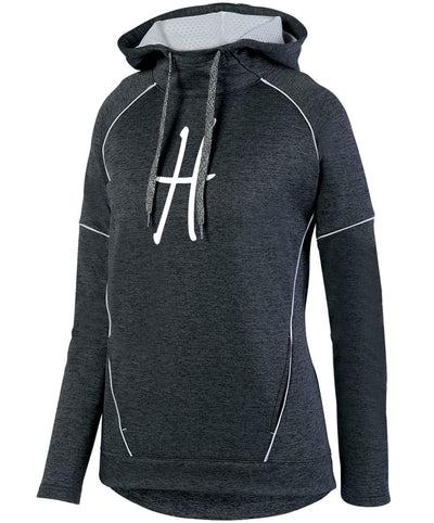 "Ladies ""Harvey's Grill & Bar - H"" Tonal Heather Polyester Fleece Pullover Hoodie"