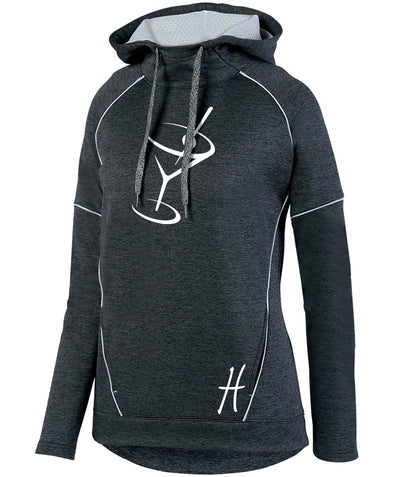 "Ladies ""Harvey's Grill & Bar - Martini"" Tonal Heather Polyester Fleece Pullover Hoodie"