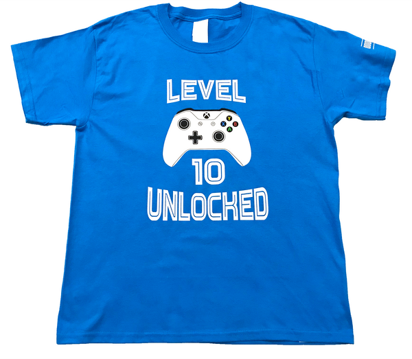 "Youth Unisex ""Level 10 Unlocked"" Lightweight Birthday Tee - Sapphire"