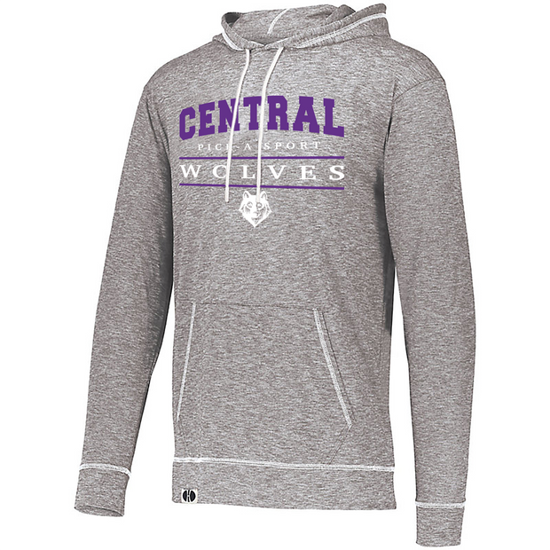 "Adult ""Central Wolves"" Lightweight Athletic Pullover Hoodie - Choose Your Sport"