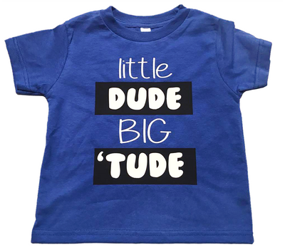 "Toddler Boy's Fine Jersey  Short Sleeve ""Little Dude, Big 'Tude"" Tee - Royal"