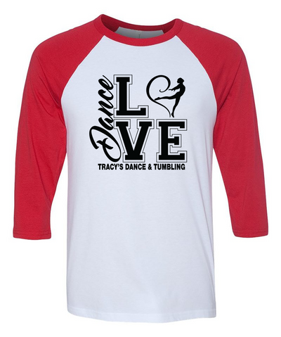 "Adult ""Love Dance"" 3/4 Length Raglan Baseball Tee"