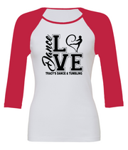 "Women's Fitted ""Love Dance"" 3/4 Length Raglan Baseball Tee"