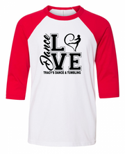 "Youth/Toddler ""Love Dance"" 3/4 Length Raglan Baseball Tee"
