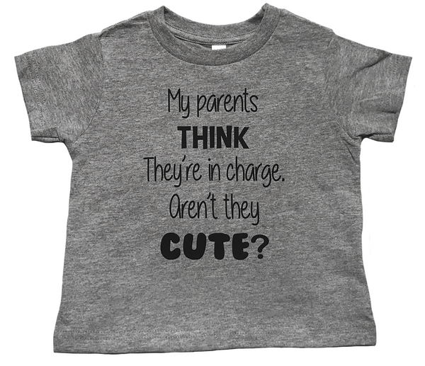 "Toddler Fine Jersey Short Sleeve ""My Parents Think They're In Charge"" Tee - Heather"