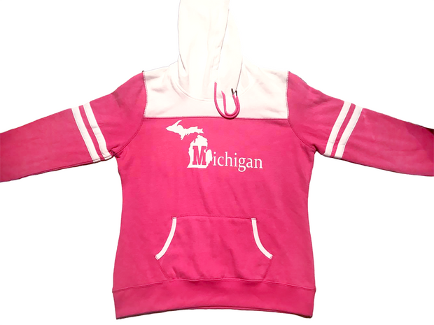 Ladies State of Michigan Striped Sleeve Fleece Hoodie