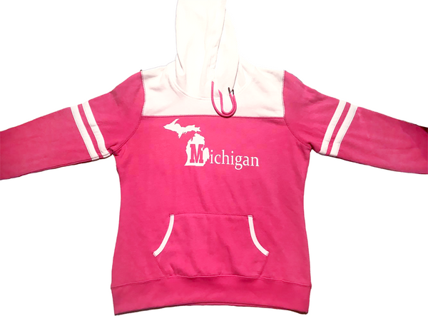 Women's State of Michigan Striped Sleeve Fleece Hoodie