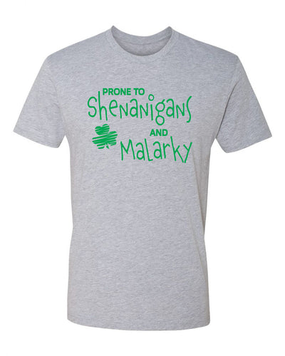 "Adult ""Prone To Shenanigans And Malarky"" St. Paddy's Day Jersey Cotton Short Sleeve Tee"