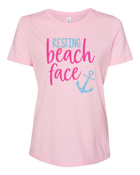 "Ladies ""Resting Beach Face"" Relaxed Jersey Cotton Short Sleeve Tee"