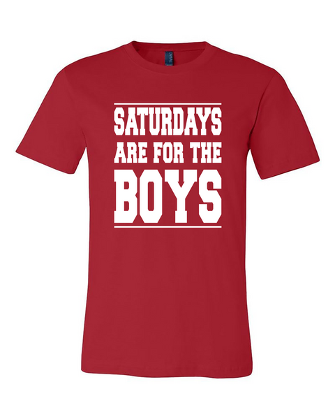 "Adult ""Saturdays Are For The Boys"" Jersey Cotton College Football Tee"
