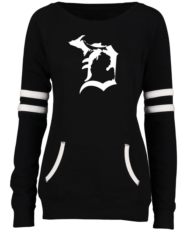 "Ladies ""State of Detroit"" Varsity Fleece Crew Neck Pullover"