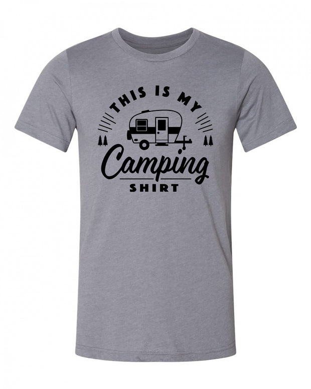 "Adult ""This Is My Camping Shirt - Trailer"" Jersey Cotton/Polyester Short Sleeve Tee"