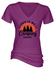 "Ladies ""This Is My Camping Shirt - Sunset"" Essential V-Neck Tee"