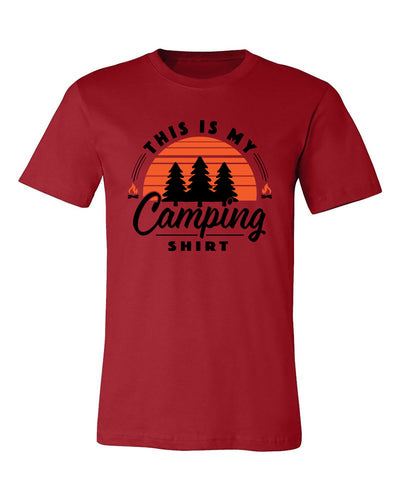 "Adult ""This Is My Camping Shirt - Sunset"" Jersey Cotton Short Sleeve Tee"