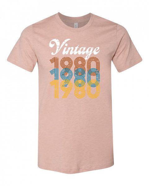 "Adult ""Vintage Year"" Heather Polyester/Jersey Cotton Short Sleeve Tee - Choose Your Year"