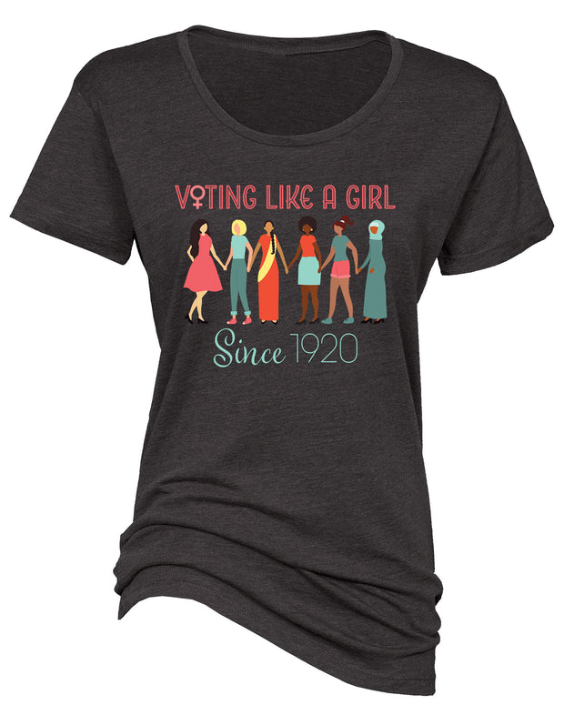 "Ladies ""Voting Like A Girl Since 1920"" Essential Crew Neck Cotton/Poly Tee"