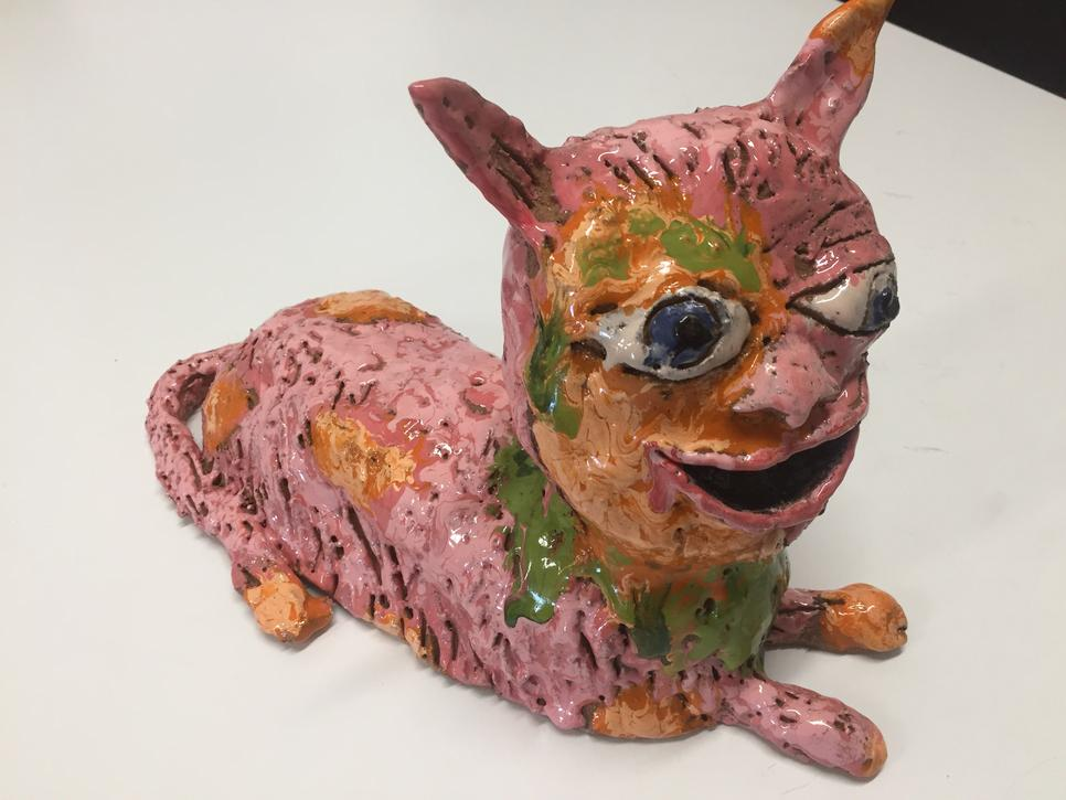 Jim Cooper Pink ceramic cat