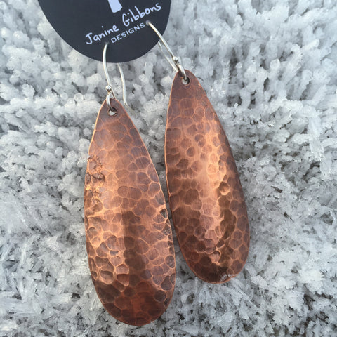 Long Hammered Copper Earrings