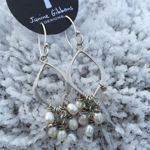 Sterling Silver Paddle Earrings - Pearls