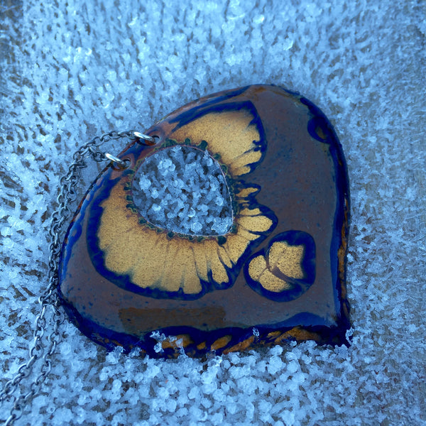 "Necklace - Heart - 2 3/4"" - Golden Sand with Blue"