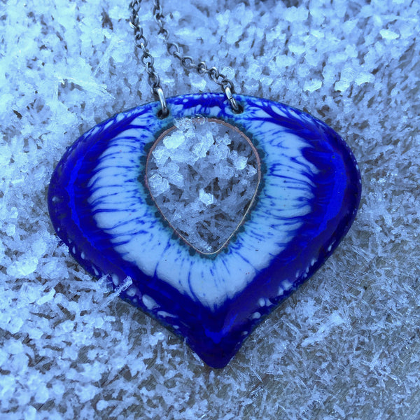 Necklace - Mini Heart with CutOut - Pottery Chard 2 1/4""